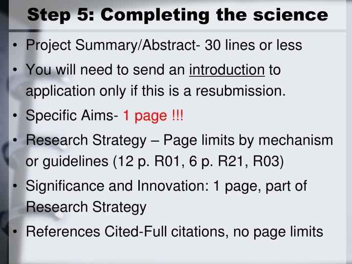 Step 5: Completing the science