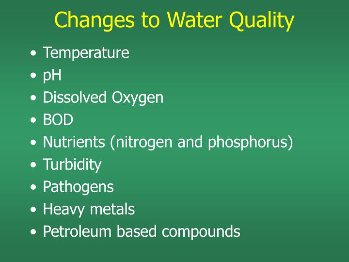 Changes to Water Quality