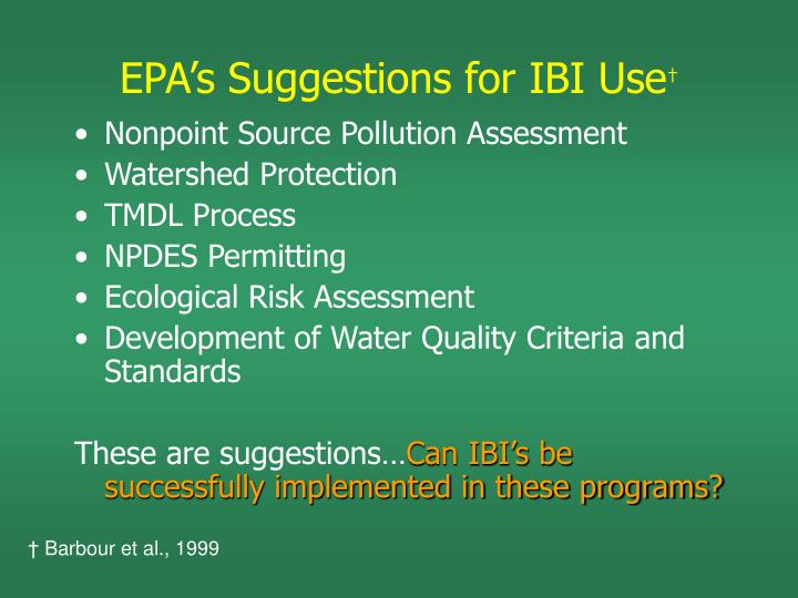 EPA's Suggestions for IBI Use