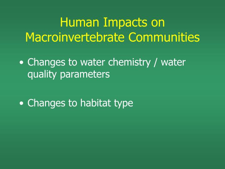 Human Impacts on Macroinvertebrate Communities