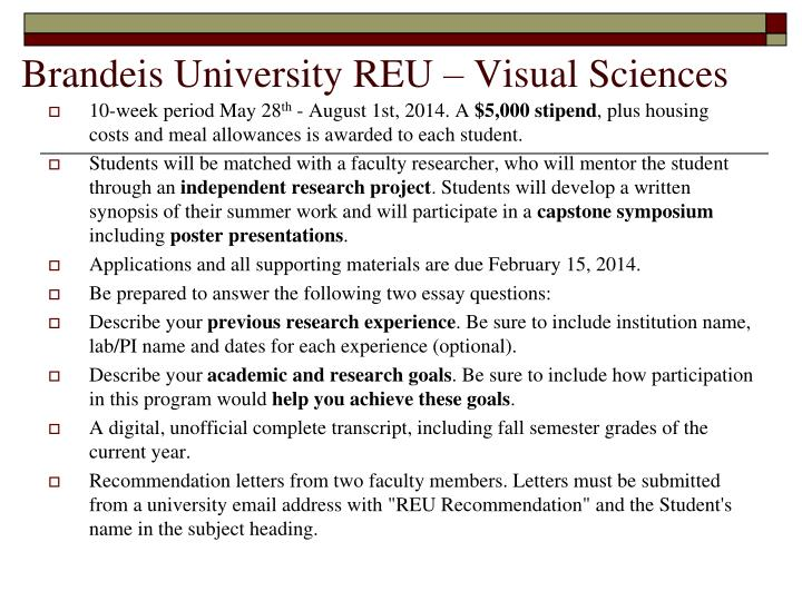 Brandeis University REU – Visual Sciences