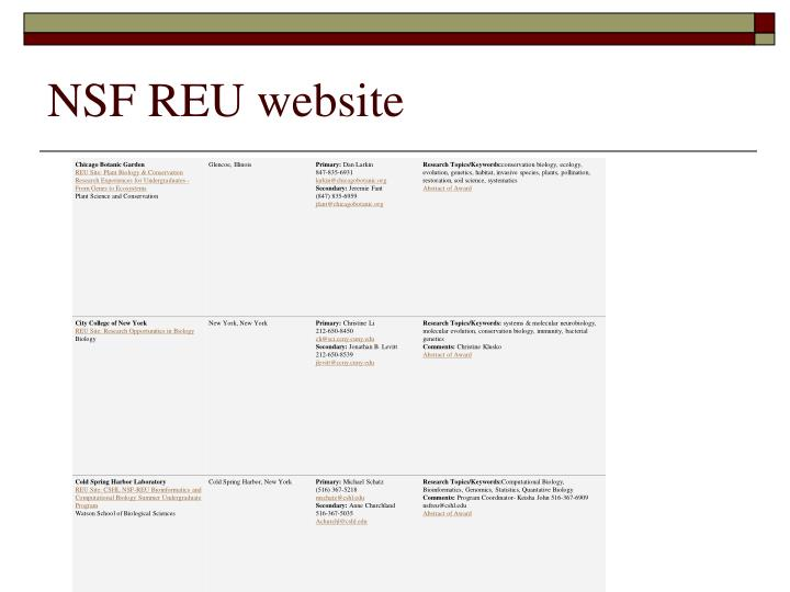 NSF REU website