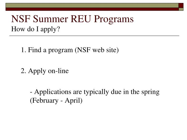 NSF Summer REU Programs