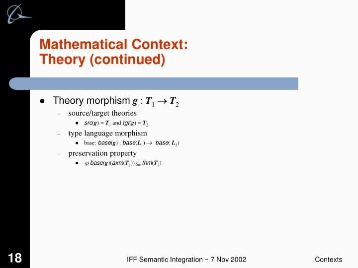 Mathematical Context: Theory (continued)