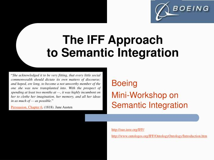 the iff approach to semantic integration