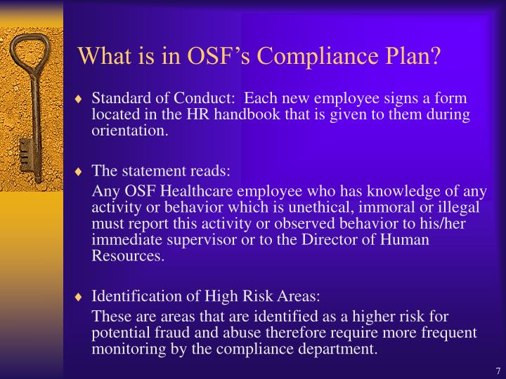 What is in OSF's Compliance Plan?