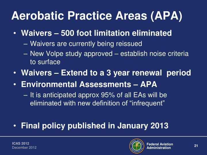 Aerobatic Practice Areas (APA)