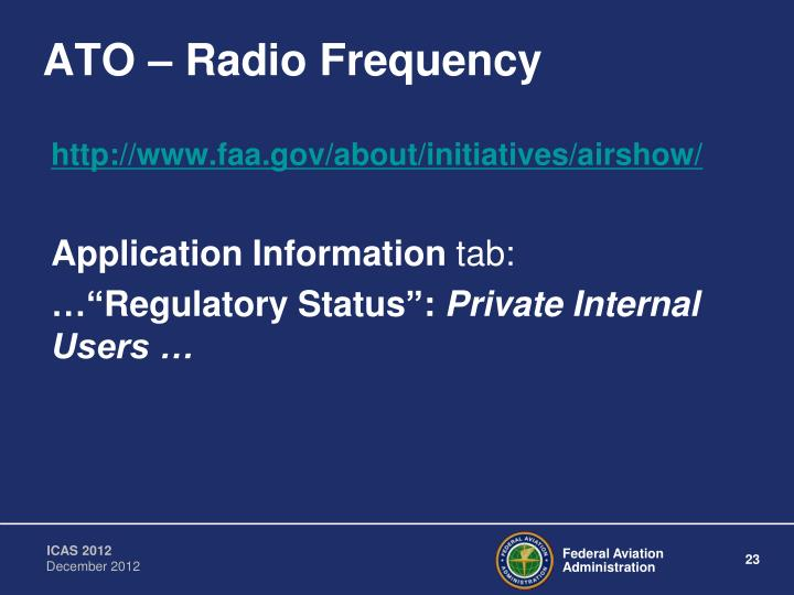 ATO – Radio Frequency