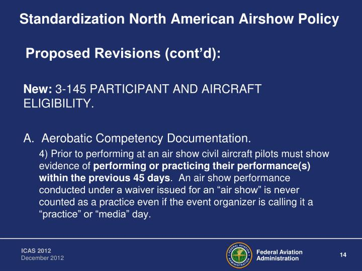 Standardization North American Airshow Policy
