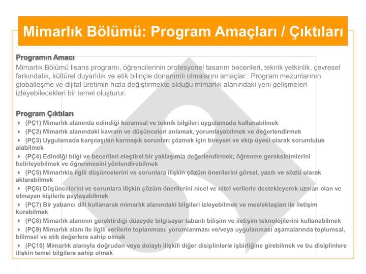Mimarlık Bölümü: Program Amaçları / Çıktıları