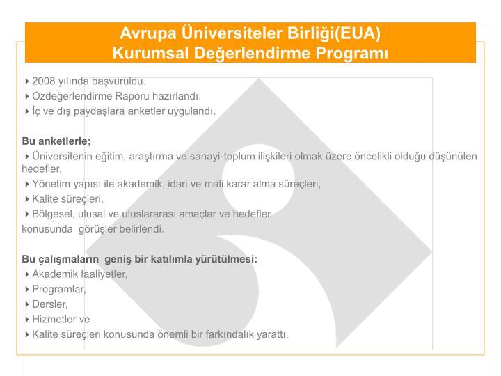 Avrupa Üniversiteler Birliği(EUA)