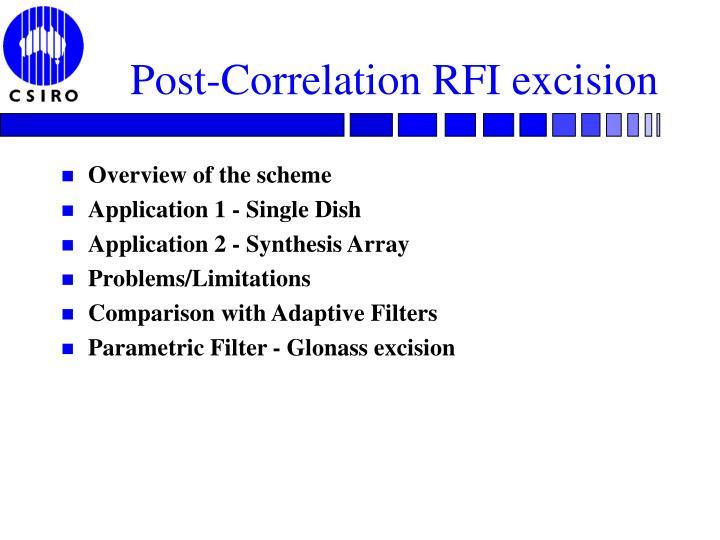 Post-Correlation RFI excision