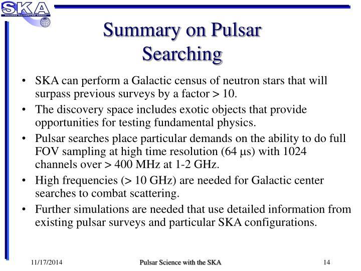 Summary on Pulsar Searching