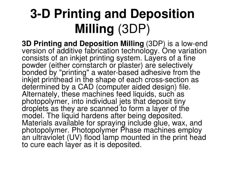 3-D Printing and Deposition Milling