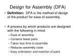 design for assembly dfa