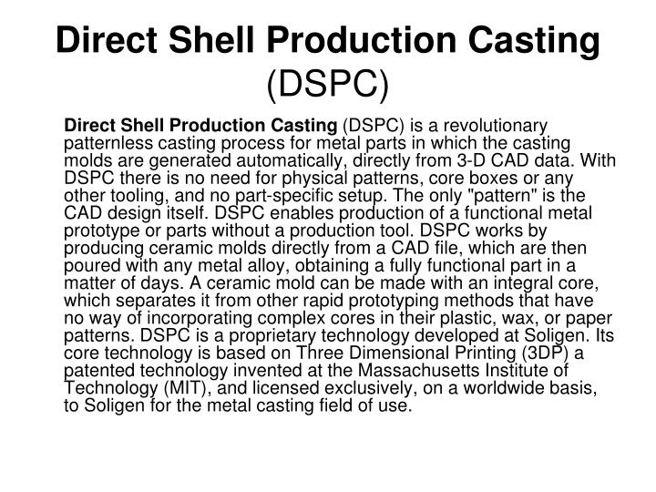 Direct Shell Production Casting