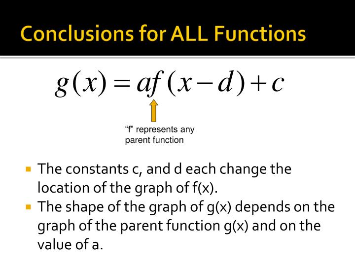 Conclusions for ALL Functions