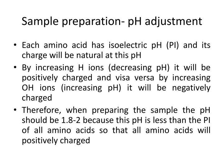 Sample preparation- pH adjustment