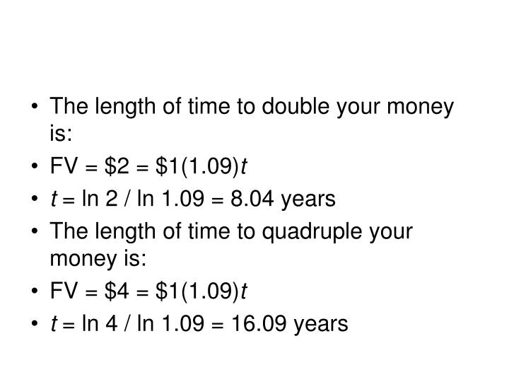 The length of time to double your money is: