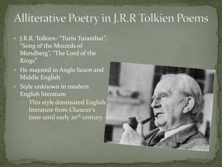 Alliterative Poetry in J.R.R Tolkien Poems