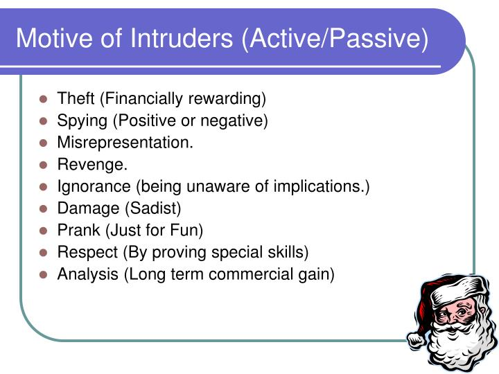 Motive of Intruders (Active/Passive)