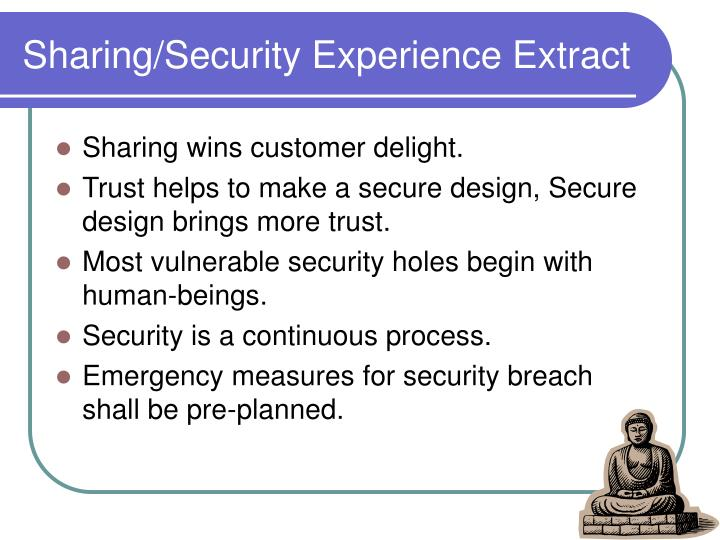 Sharing/Security Experience Extract