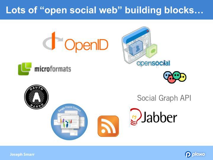 "Lots of ""open social web"" building blocks…"