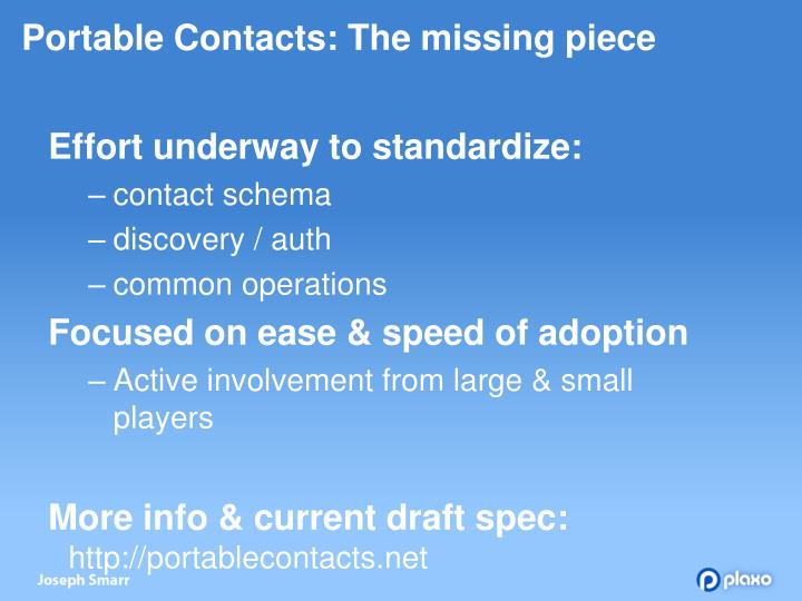 Portable Contacts: The missing piece