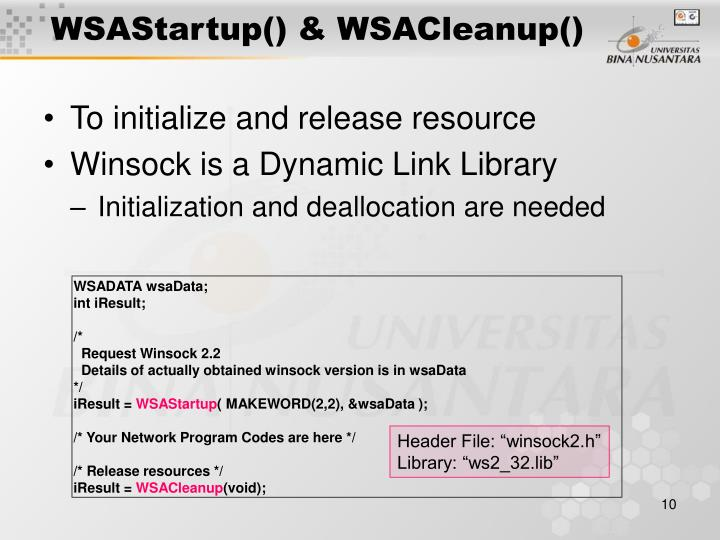WSAStartup() & WSACleanup()