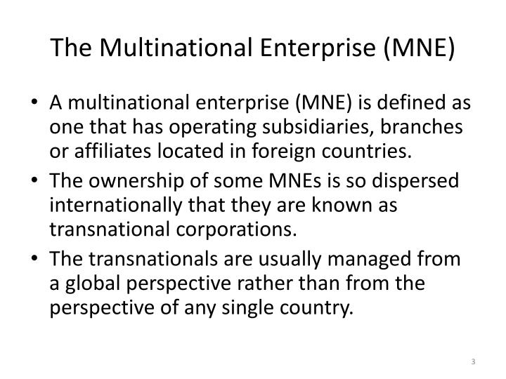 The multinational enterprise mne