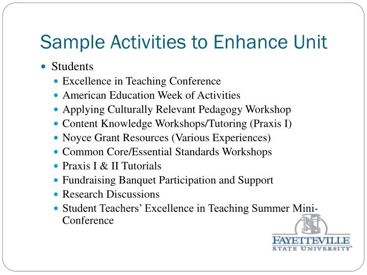 Sample Activities to Enhance Unit