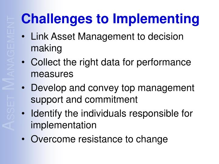 Link Asset Management to decision making