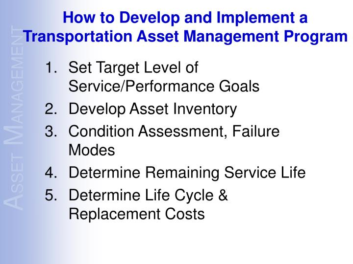 Set Target Level of Service/Performance Goals