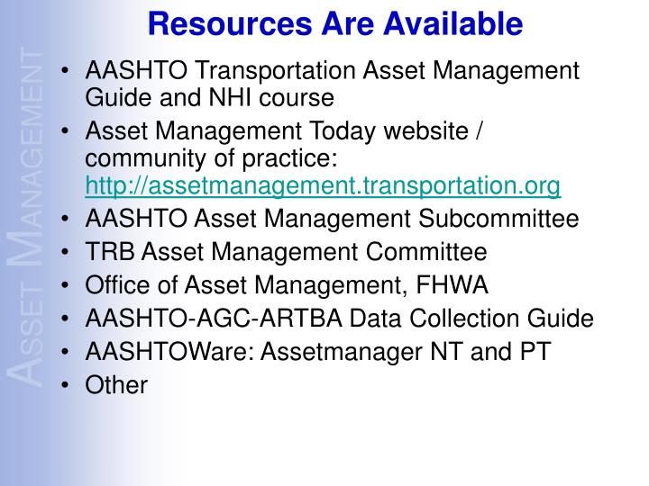 AASHTO Transportation Asset Management Guide and NHI course