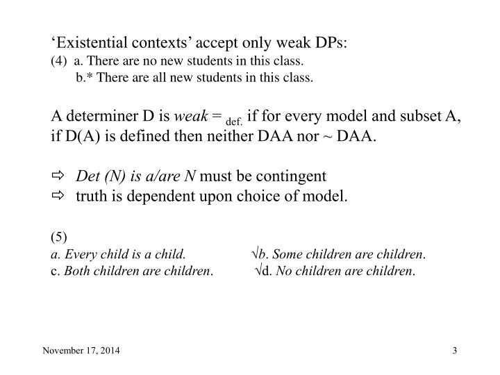 'Existential contexts' accept only weak DPs: