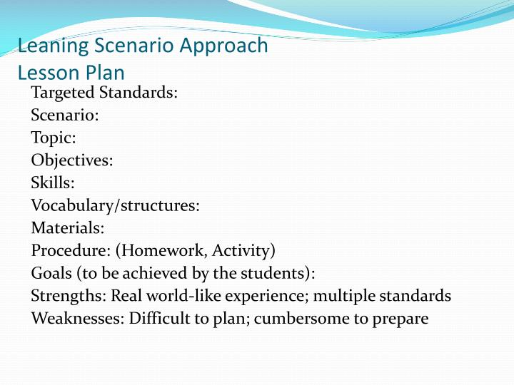 Leaning Scenario Approach