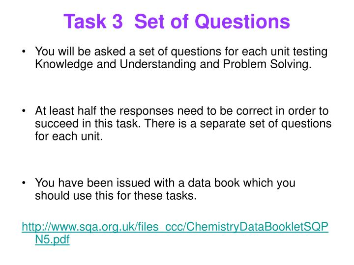 Task 3	Set of Questions