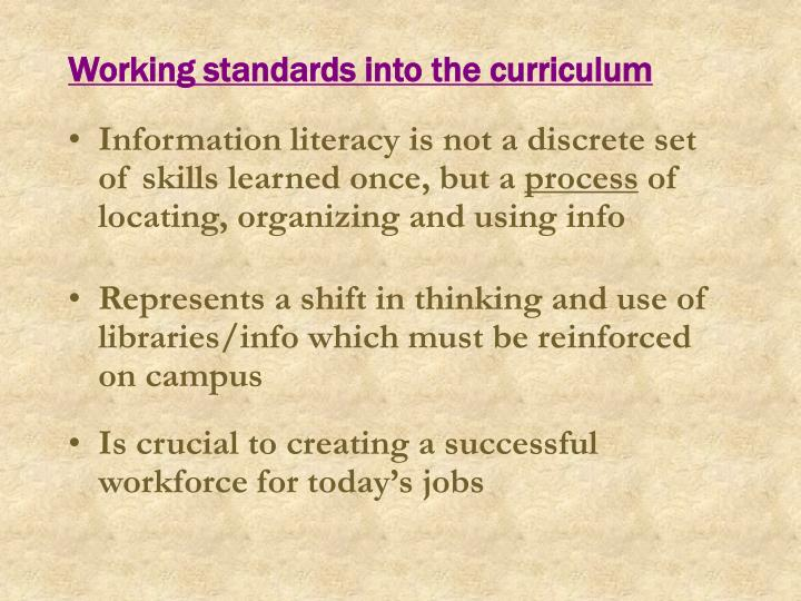 Working standards into the curriculum