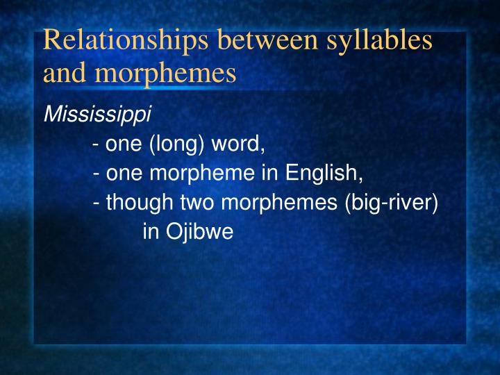 Relationships between syllables and morphemes
