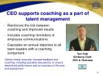 ceo supports coaching as a part of talent management