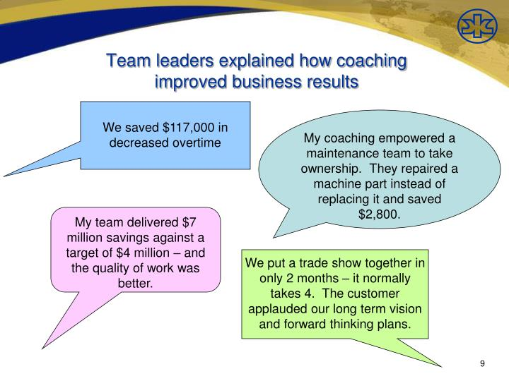 Team leaders explained how coaching
