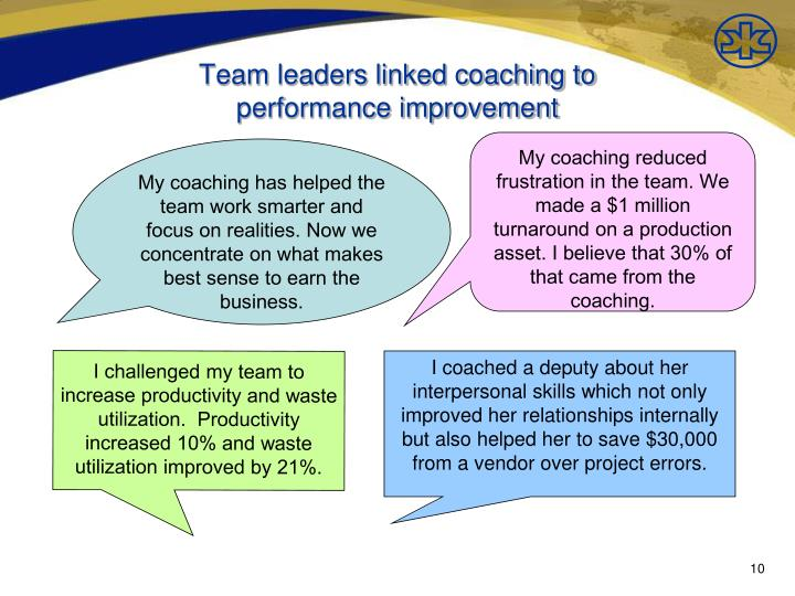 Team leaders linked coaching to