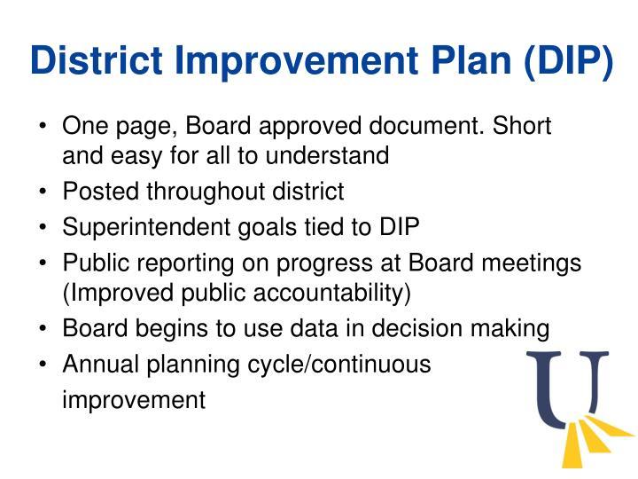 District Improvement Plan (DIP)
