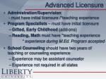 advanced licensure