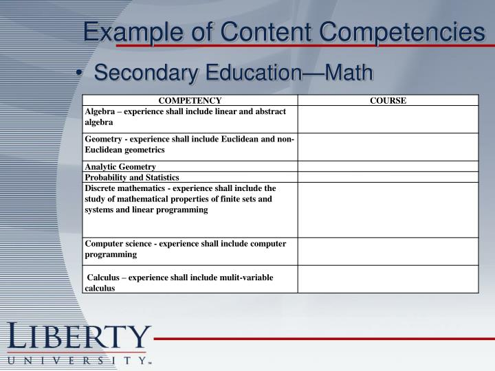 Example of Content Competencies