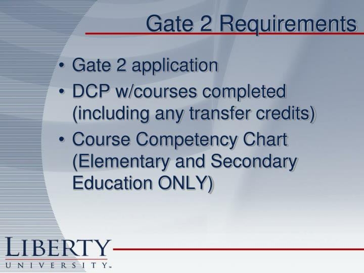 Gate 2 Requirements