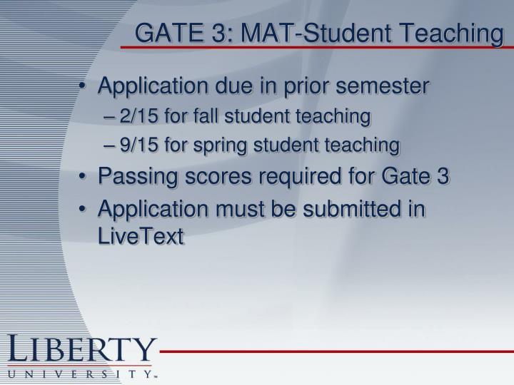 GATE 3: MAT-Student Teaching