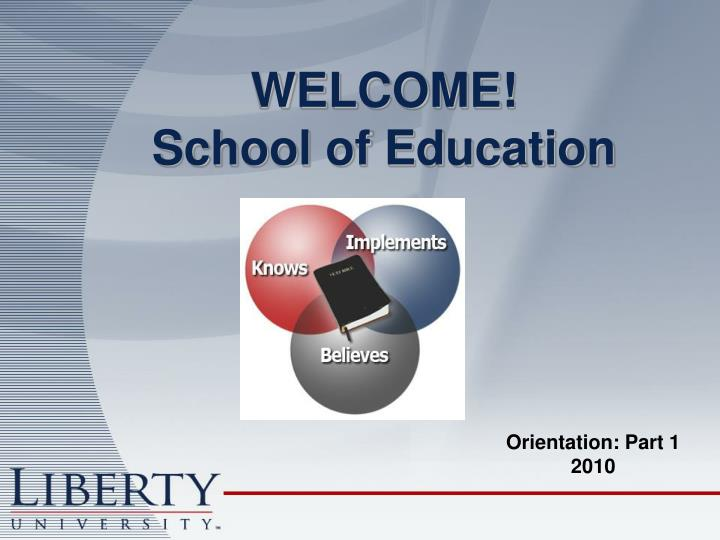 welcome school of education