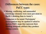 differences between the cases pacc types