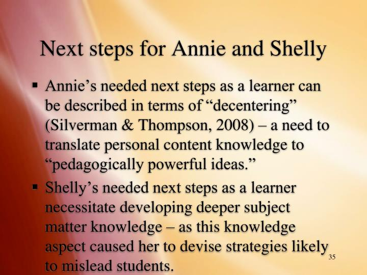 Next steps for Annie and Shelly